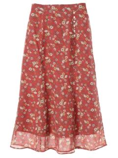 レトロ花柄Aラインスカート