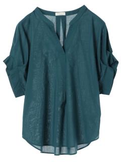 ・涼しくなるコットンブレンド袖タックシャツ
