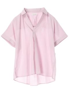 ・涼しくなるコットンブレンドバックギャザーシャツ