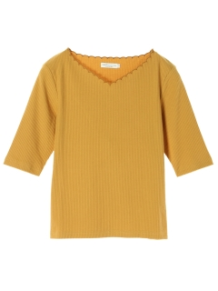 ・5分袖衿スカラップ刺繍テレコプルオーバー