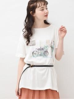フォトプリントチュニックTシャツ