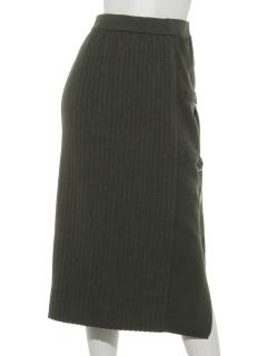 Dカン付きリブニットタイトスカート