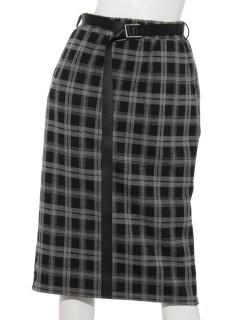 ベルト付きチェック柄タイトスカート
