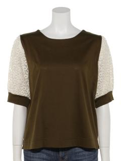Wシル袖 刺繍プルオーバー