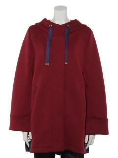 ダンボールニット 裾配色ロングジャケット