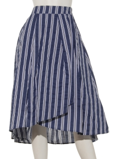 マルチストライプ ラップスカート