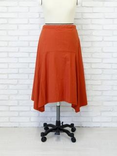 麻混ストレッチイレヘムスカート