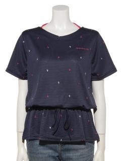 UV飛び柄刺繍チュニックTシャツ