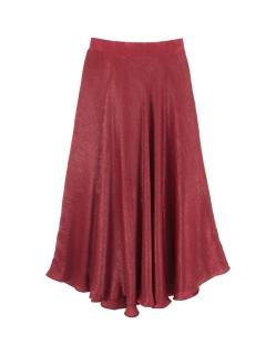 サテンカラーフレアスカート