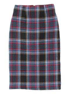 フェイクツイードチェックタイトスカート