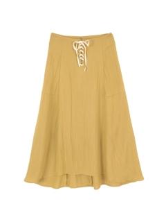 フロントレースアップフレアミディアムスカート