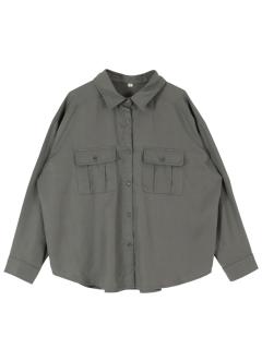 オーバーサイズミリタリーシャツ