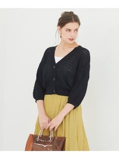 透かし編みショートカーディガン