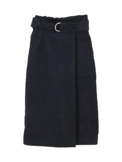 コーデュロイフェイクラップスカート
