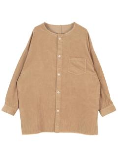 コーデュロイノーカラーロングシャツ/ジャケット