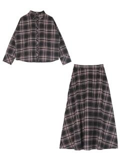 チェックネルシャツ×フレアスカートセットアップ
