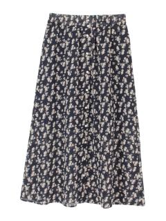花柄フロントボタンスカート