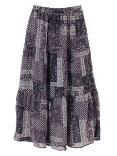 ヴィンテージライク花柄ティアードスカート