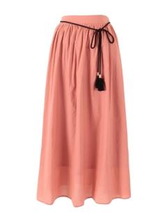 タッセルベルト付きコットンギャザースカート