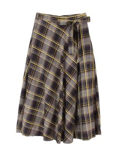 マドラスチェックフレアロングスカート