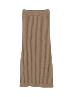 透かし編みリブニットIラインスカート