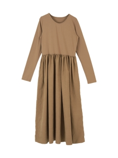 ボリュームギャザースカートドッキングドレス