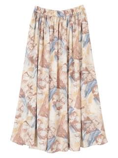 抽象柄フレアスカート
