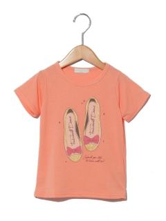 スパンコール風シューズプリント半袖Tシャツ