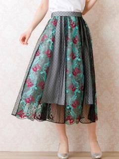 チュール刺繍フレアスカート