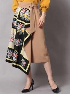 スカーフドッキングフレアスカート