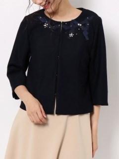 リボン刺繍ノーカラージャケット