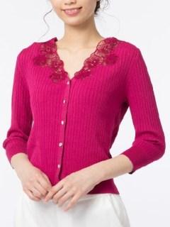 透かし編み刺繍ニットカーディガン