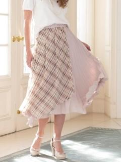 チェック×プリーツコンビフレアスカート
