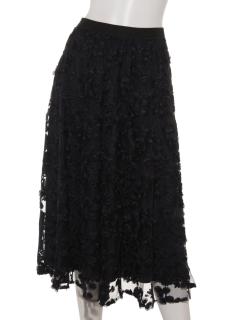 フラワーチュール刺繍フレアスカート