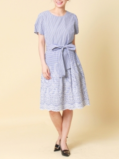 ストライプ/ギンガム刺繍ワンピース