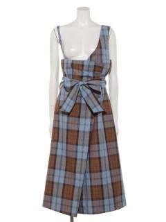 ワンショルダーラップ風スカート(チェック)