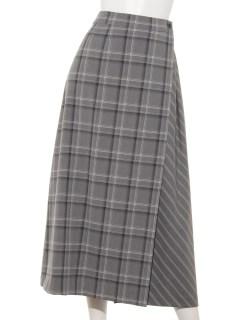 チェック×ストライプラップ風スカート