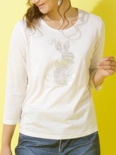 厚盛りラバープリントうさぎTシャツ
