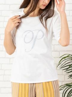 ビーズ刺繍「P」ロゴ・クルーネックTシャツ