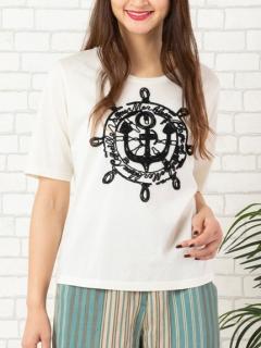コットン天竺・イカリ/マリンロゴ刺繍Tシャツ
