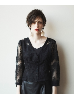 【ODORANTES】オーガンジーフラワー刺繍ブラウス&キャミソール