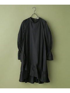 【ne Quittez pas】SOLID POPLIN HEM CROSS DRESS