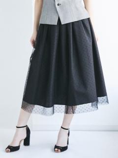 【Kaene】別注ドットチュールフレアスカート