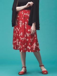 【Grace&Mila】フラワープリントプリーツスカート