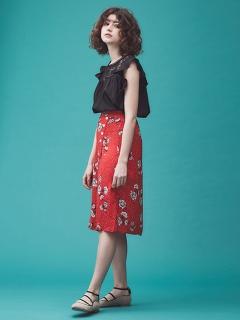 【Grace&Mila】フラワープリントラップスカート