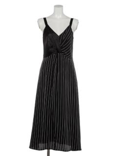 【VONDEL】Satin stripe dress