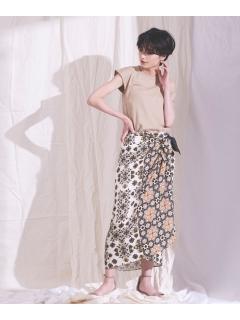 【ODORANTES】OD/パネルプリントラップスカート
