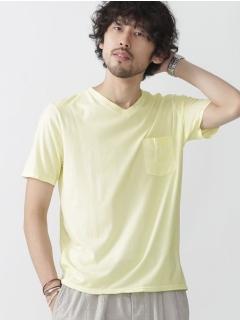 //スプレー加工VネックTシャツ