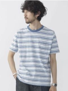 //インディゴスラブボーダーTシャツ