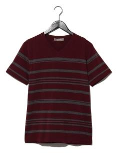 パネルボーダーVネックTシャツ